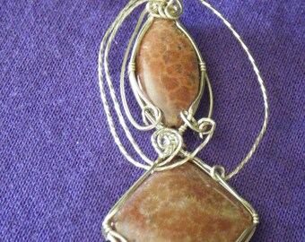 Wire-Wrapped Pendant -- Two Orange Fossil Stones in Gold Fill