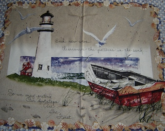 "Per panel, ""By the Sea"" fabric boats light house"