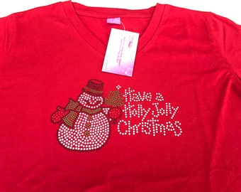 Rhinestone Snowman Have a Holly Jolly Christmas.... Short Sleeve V Neck Fitted Tee S, M, XL