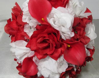 Red White Rose Calla Lily Bridal Wedding Bouquet & Boutonniere