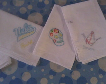 Custom Hand Embroidered Handkerchiefs