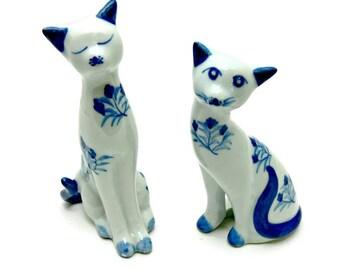 Porcelain Cat Figurines, Vintage Blue and White Ceramic Cats