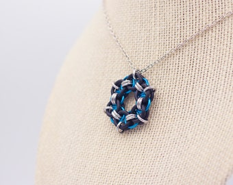 Black, Blue, and Silver-Colored Chainmail Pendant Necklace