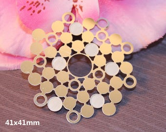 2 pendants connector round silver mirrored 41mm