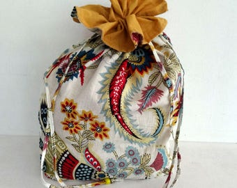 Tote bag clutch white paisley print cotton with zip ties
