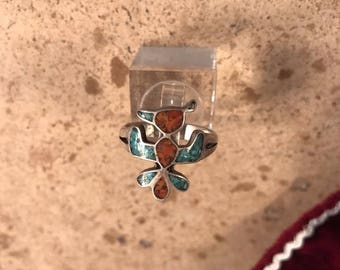 Vintage Navajo Chip Inlay & Sterling Silver Ring Size 7.5