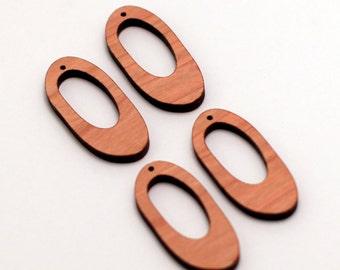4 Wood Elongated Oval Beads : Cherry