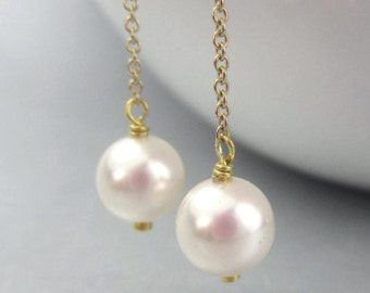 Pearl Threader Earrings White Pearl Ear Threads, Long Chain Gold Filled or Sterling Silver