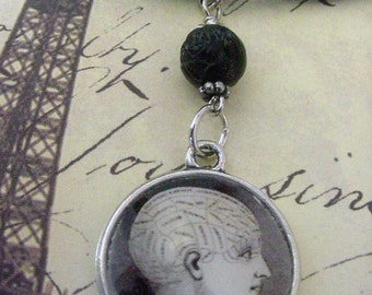 Phrenology Head Necklace Victorian Divination Tool gothic jewelry