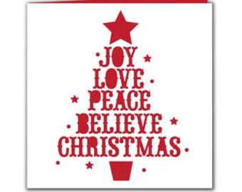 Christmas Tree Blank Card . Star , Joy , Peace , Believe , Holiday , PaperCut , Season Greetings