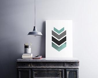 Geometric arrow - Printable art , Instant download , wall print