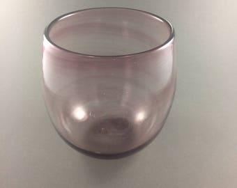 Hand Blown Dusty Pink Swirl Glass Bowl