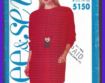 Vintage Butterick UNCUT Dress and Jacket Pattern Sizes 12 14 16 1990's  5150 See & Sew
