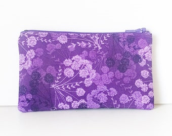 Zippered Coin Purse with Purple Floral Print and Card Slot