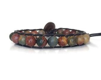 Gemstone Bracelet for Men - Beaded Leather Bracelet for Men - Mens Leather Bracelet - Valentines Day Gift for Him