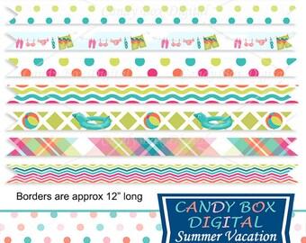 Summer Ribbon Border Clipart, Beach Vacation Border Clip Art - Commercial Use OK