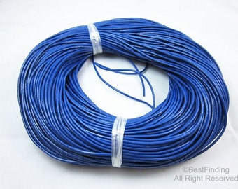 2mm Blue Round leather cord Genuine 2mm leather cords