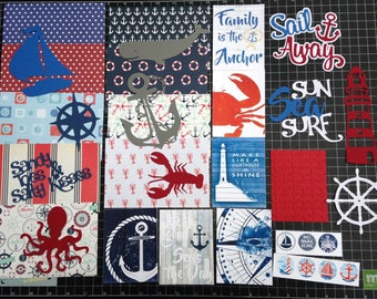 Nautical Scrapbook Kit, Nautical scrapbook Paper, die cuts, Scrapbooking, lighthouse, beach, vacation, Project Life, planner, stickers