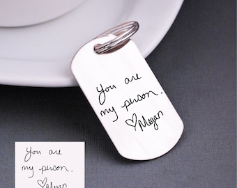 YOUR OWN HANDWRITING Keychain, Personalized Anniversary Gift for Husband, Christmas Gift, Wedding Day Gift for Groom, Memorial Gift