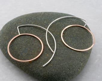 modern hoop earrings, circle threader earrings, minimal circle earrings, rose gold , mixed metal, Rachel Wilder Handmade Jewelry