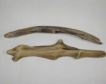 "2 Driftwood Sculptures 16.5""/42 cm , Unusual Driftwood Pieces ,Natural Beach Decor, Craft Supply, Driftwood for Arts # 33A"