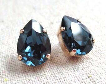 Swarovski Dark Navy Blue Crystal Teardrop Rhinestone Pear Rose Gold Post Earrings Wedding Bridal Jewelry Bridesmaids Presents Gift for Her