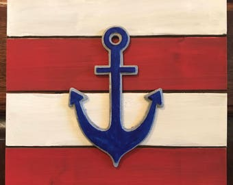 Anchors Away, Wall art, home decor, Anchors, nautical, red white and blue