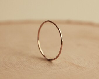 14k Gold Ultra Thin Hammered Stacking Ring, Handmade Solid Gold Ring, Dainty Planished Ring