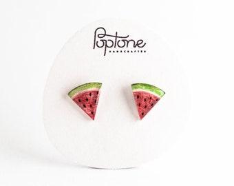 Watermelon Stud Earrings, watermelon slice studs, fruit earrings, summer earrings, kawaii watermelon earrings