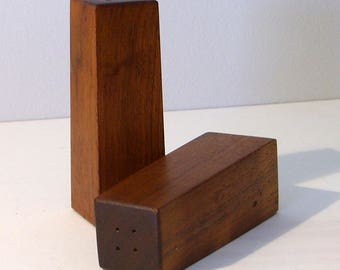 Vintage Wood Salt & Pepper Shaker Set - Danish Modern