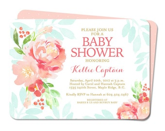 Baby Shower Invitation Baby Girl Shower Invite Watercolor Peonies Coral Peach Blush Pink Mint Aqua Gold