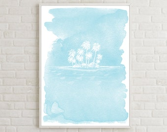 Printable Palm Tree Nantucket Art, Tropical Wall Poster, Tropical Wall Art, Blue Ocean Wall Art, Beach Watercolor Art, Nantucket Wall Decor
