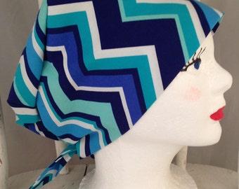 Scrub Hat Tie Back Pixie Style Designer Michael Miller's Blue Chevrons on White