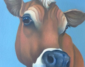 "jersey cow painting ""Thinking"""