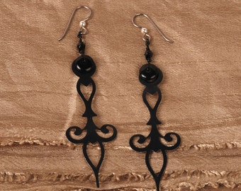 Black Clock Hand Earrings - Steampunk Earrings - Black Earrings - Dangle Earrings - Steam Punk Earrings