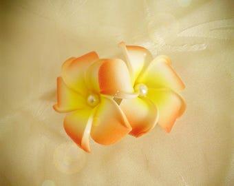 Double plumeria flower hair clip orange