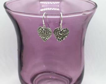 Paisley/flower texture heart earrings