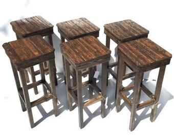 Rustic Bar Stool Set/ Free Shipping/Vintage Bar Stool Set Of Six/Farmhouse Style Stool/Custom Height Bar Stools/ 6 Custom Color Bar Stools