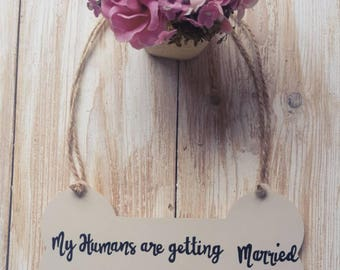 Bone shaped wedding signs for Dogs