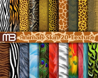 Animal Print digital paper pack - printable Clip art - Instant download - 12x12 inches papers for home printing