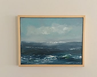 Piece of the Beach - Seascape- Original Painting- 12 x 16- Framed Natural Wood Floater Frame- Stretched Canvas