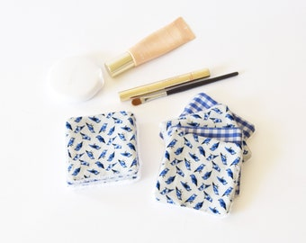 7 washable wipes, cleansing wipes, blue, bird or gingham, reusable wipes, zero waste, gift for her, reusable make up remover pads