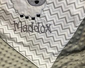 Lamb Baby Blanket, Lamb Blanket, Embroidered Baby Blanket, Lamb Baby Blanket, Lamb Nursery, Personalized Baby Blanket, Baby Lamb Blanket