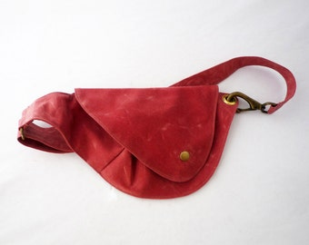 Belt Bag in Nantucket Red Waxed Cotton : Fanny Pack, Hip Bag, Duck Canvas Bag, Festival Bag, Rustic, Hands Free Bag, Waxed Canvas, Red, Boho