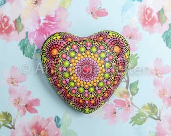 Mandala heart, hand painted