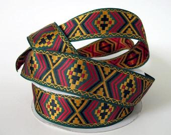 DESERT RIDE 3 yards Jacquard trim in mustard, black, red on green. 1 1/2 inch wide. 2031-A geometric pattern trim, tribal trim