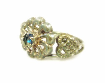 Vintage Ring Size 6 Flower Ring Silver Ring Blue Stone Blue Rhinestone Ring Something Blue Floral Ring Statement Ring Heart Ring