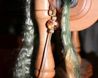 Spinning Wheel Hook - Orifice Hook - Brass with Lampwork Bead