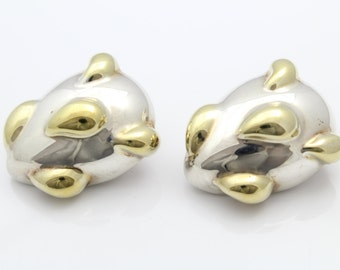 VTG 2 Tone Sterling Silver Puffy Prickly Pear Electroform Clip Earrings Duclos. [7563]