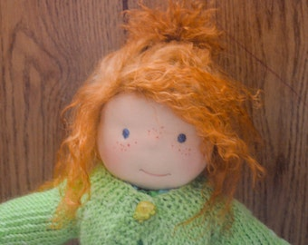 Custom 15 inch Waldorf  Doll with Lambskin wig